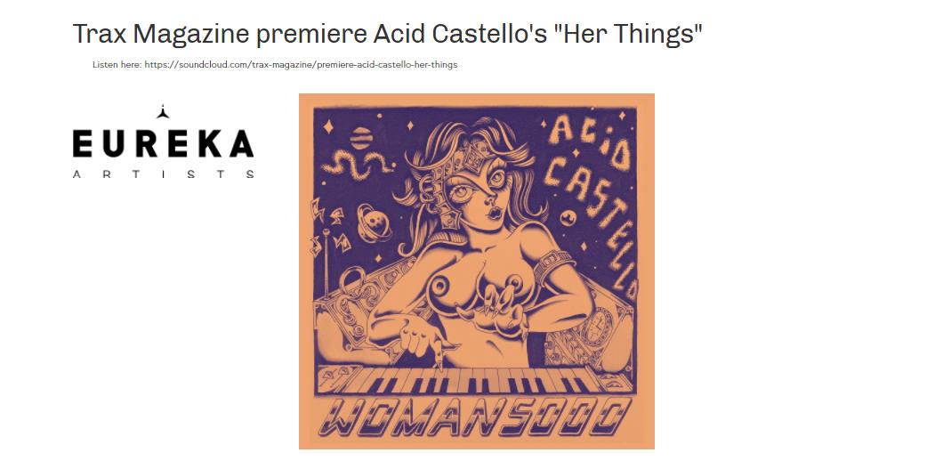 [PREMIERE'] Acid Castello on TRAX Magazine !